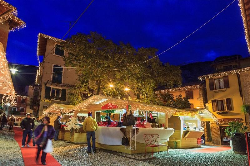 Italy, Garda Lake, Veneto. Malcesine at Christmas Time.editorial