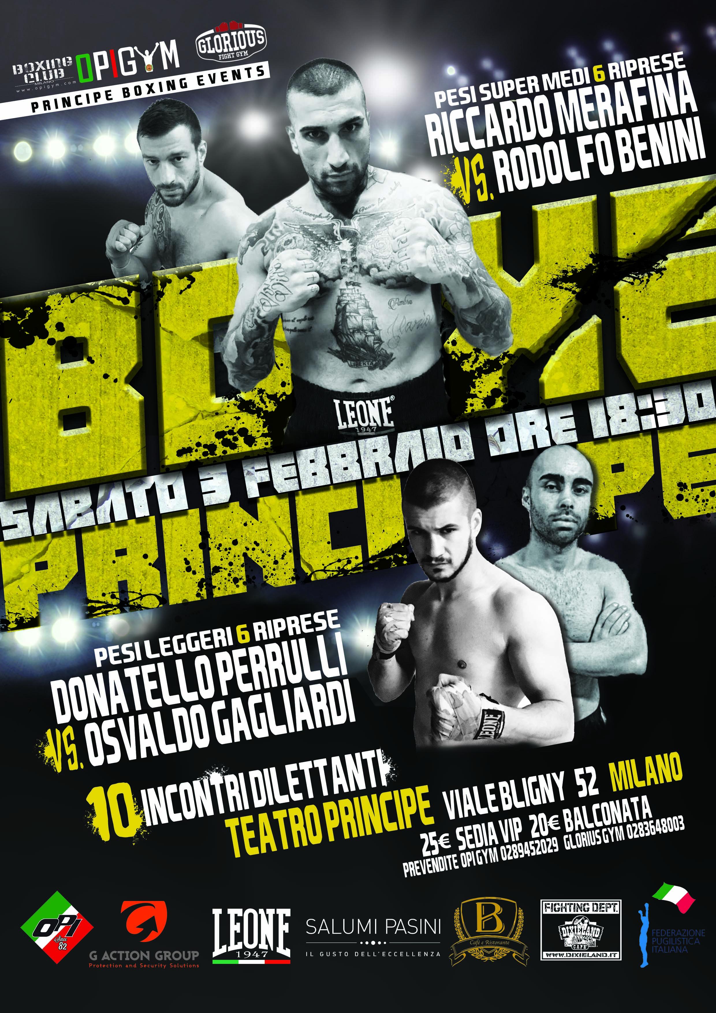 Sabato 3 Febbraio torna la boxe al teatro Principe di Milano